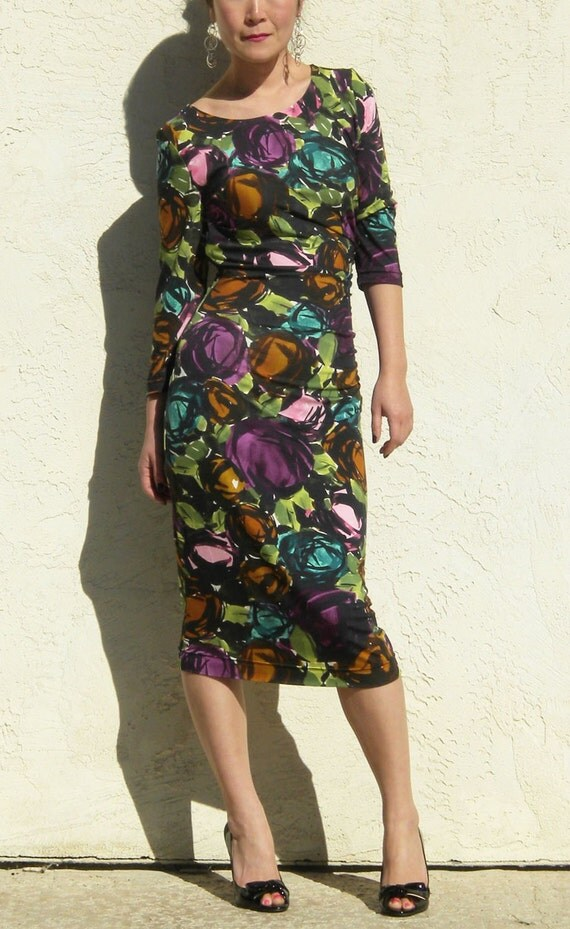 Shirred Jersey Dress- Flower Print