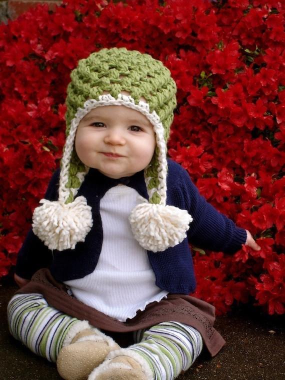 Christmas Green Organic Crochet Pom-Pom Baby Hat