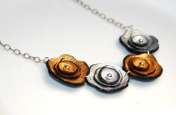 Leather Flower Necklace - Sterling Silver - Metallic Jewelry - Silver and Gold Flowers
