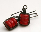 Red coral earrings wire wrapped oxidized copper and sterling - Talia