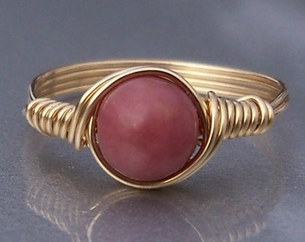 Rhodonite 14k Yellow Gold Filled Wire Wrapped Ring