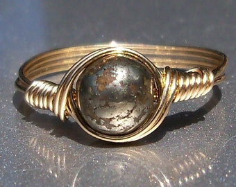 Pyrite 14k Gold Filled Wire Wrapped Ring