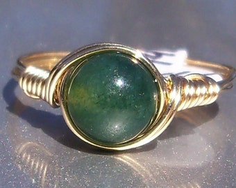 Moss Agate 14k Yellow Gold Filled Wire Wrapped Ring