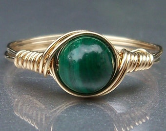 Malachite 14k Gold Filled Wire Wrapped Gemstone Ring