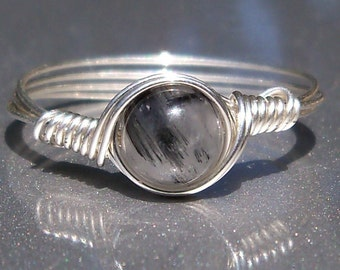 Tourmalated Quartz Argentium Sterling Silver Wire Wrapped Ring