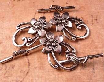 Silver Toggle Clasp Flower Toggle Clasp Silver Findings Flower Clasp Silver Clasp Toggle Clasp Silver Beads Flower Beads Metal Beads