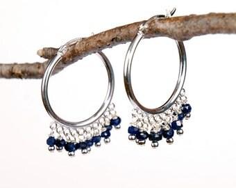 Genuine Sapphire Gemstone Sterling Silver Hoop Earrings