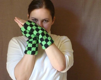 Checkered Bright Green and Black Fingerless Gloves  for Men or Women - Crochet Arm Warmers, Mitts, Fingerless Mittens MADE TO ORDER