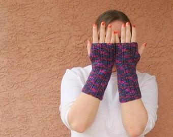 Crochet Fingerless Gloves for Women, Harlequin Multicolor, Crochet, Arm Warmers, Fingerless Gloves, Mittens Pink, Teal, Orange READY TO SHIP