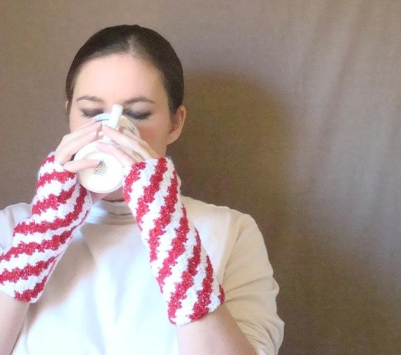 Sparkly Candy Cane Fingerless Gloves for Women - Red and White Peppermint Fingerless Gloves, Arm Warmers, Fingerless Mittens