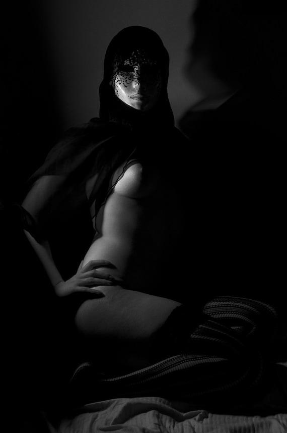 Artistic nude female lingerie mask black and white photography fine Wall art - Venetian Mask - 6