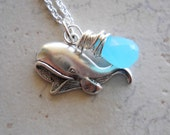 Whale Necklace / Sterling Silver and Sky Blue Quartz,  Nautical Inspired Ocean Themed Charm Wire Wrapped Briolette, Beachy Necklace