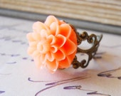 Tropical Orange Flower Cocktail Ring, Novelty Costume Jewelry for Stocking Stuffers, Gifts under 10
