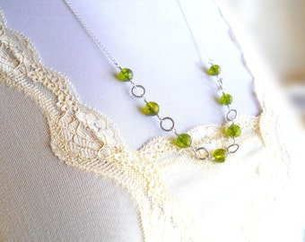 Peridot Necklace, Sterling Silver and Genuine Green Gemstone, Wire Wrapped, Moss Green Stone Jewelry