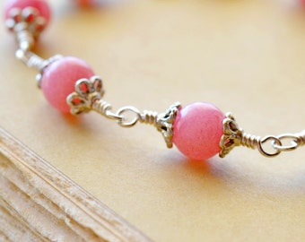 Morganite Bracelet, Pink Gemstone and Sterling Silver Bracelet, Wire Wrapped Stones with Toggle Clasp Genuine Gemstone Jewelry Pink Bracelet