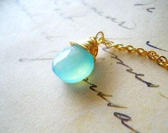Seafoam Necklace, Mint Gemstone Necklace, Gold Wire Wrap Jewelry, 14k Gold Filled Aqua Chalcedony Delicate Gold Chain Mint Green, Seafoam