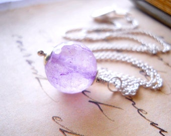 Genuine Amethyst Necklace, February Birthstone Pale Purple Gemstone, Stone Jewelry Amethyst Drop on Sterling Silver