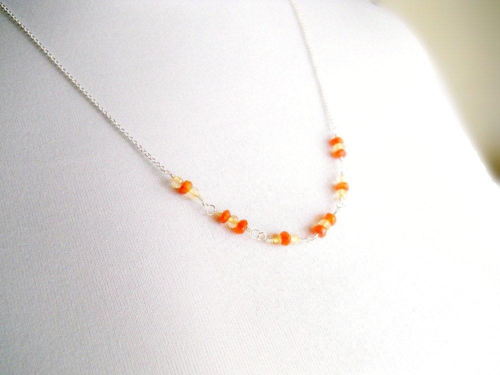 half orange necklace orange gemstone necklace by waterwaif