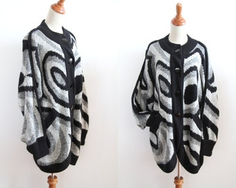 Oversized Chunky Cardigan - Op Art Pattern
