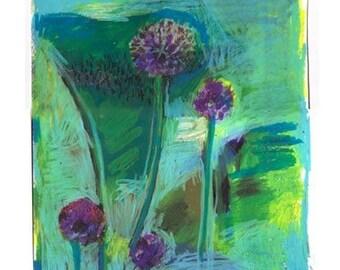 Original Drawing Of Round Purple Allium Flowers On Paper by Rina Miriam Drescher