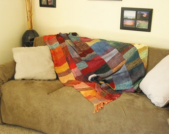 """OOAK Hand-Woven, Hand-Dyed """"Patch"""" Blanket   (-(- FREE SHIPPING -)-)"""