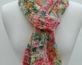 Cotton Chenille Scarf- Hand Knit/ Coral, Rose, Moss, Sea Mist