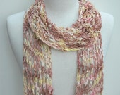 Cotton Scarf-Hand Knit/ Peach, Mauve, Lemon Yellow