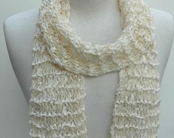 Cotton Scarf- Hand Knit/   Cream, White