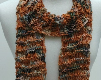 Cotton Scarf- Hand Knit/ Brown, Mauve, Olive, Sand