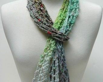 Silk & Cotton Scarf-Hand Knit/ Lavender/ Turquoise, Moss