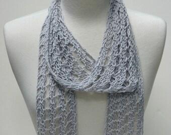 Cotton Scarf- Hand Knit / Lavender