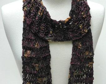 Cotton Scarf- Hand Knit/ Merlot, Mauve, Rose,Beige