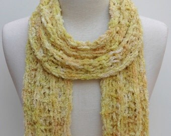 Cotton Scarf- Hand Knit- Sunlight Yellow