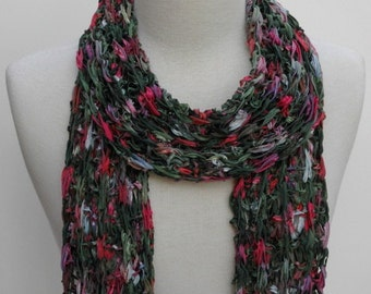 Cotton Scarf- Hand Knit/ Rose/Mauve/Green