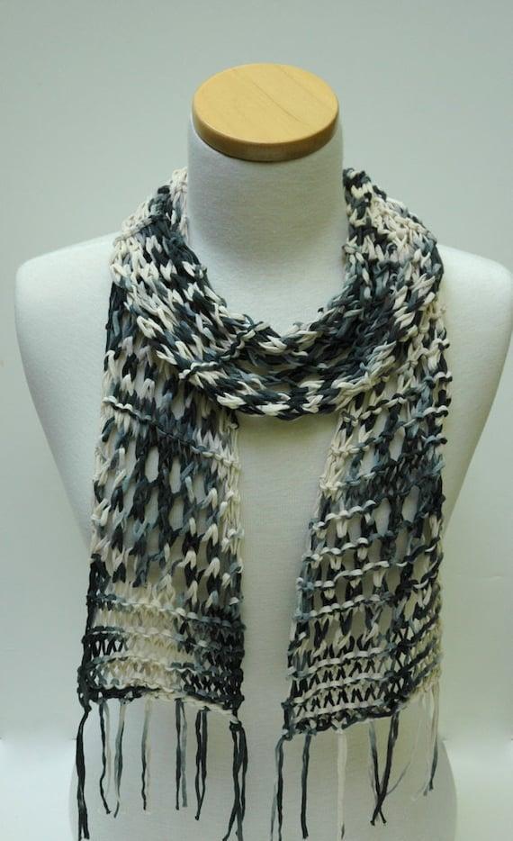 Cotton Scarf- Hand Knit/   Black, White, Gray
