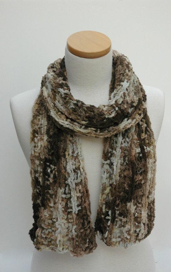 Cotton Chenille Scarf- Hand Knit- Beige, Chocolate, Cream, Gray