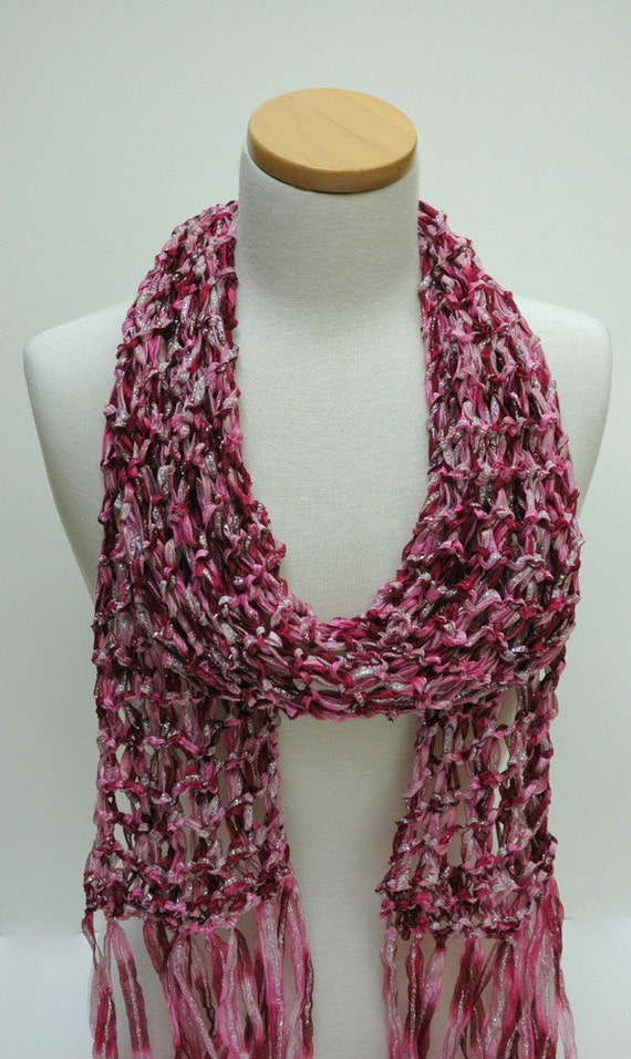 Hand Knit  Scarf- / Raspberry/ Silver/Mauve/ Rose