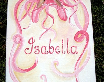 Ballet shoes painting,personalized,customized art,ballet shoes,pink ballet shoes painting,ballet painting,girls wall art,ballet wall art