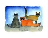 Funny Cat Card - Cat  Art - Cat Illustration/ Cartoon - Cats Greeting Card 'Cool Cats'