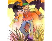 Scarecrow Autumn Card, Scarecrow Art, Scarecrow & Crows Watercolor Painting Illustration Greeting Card Print