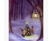 Christmas Card Gnome Elf Christmas Greeting Card Watercolor Painting Illustration Print 5x7