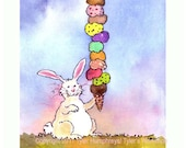 Ice Cream Rabbit Card - Bunny Card - Greeting Card - Funny Rabbit Bunny Watercolor Painting Illustration Print 'Ice Cream Bunny'