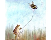Frog Print - Bumblebee and Frog Art Watercolor Illustration Print - 'Go Fly A Bumblebee'