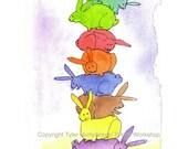 Rainbow Colored Funny Bunny Rabbits Blank Card Sympathy Card Thinking Of You Card Birthday Card Watercolor Rabbits Painting Animal Card