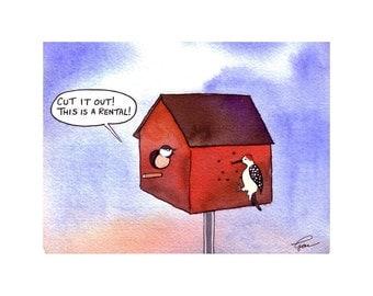 Funny Greeting Card - Humor Bird Card - Birds and Birdhouse Cartoon Greeting Card Watercolor Print 'Birdbrain Rental'