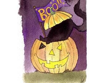Black Cat Halloween Greeting Card - Halloween Card - Handmade Watercolor Greeting Card