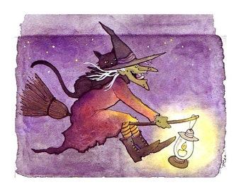 Halloween Card, Funny Witch Halloween Card, Handmade Halloween Card, Funny Black Cat and Witch Watercolor Painting Print