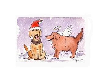 Dog Christmas Card - Labrador & Golden Retriever Dogs Christmas Greeting Cards - Dog Art