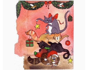 Cat Christmas Card - Funny Cats Card - Cat Art - Christmas Cats Watercolor Painting Illustration Print
