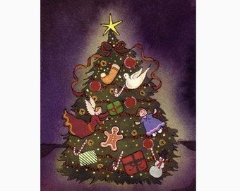 Christmas Tree Greeting Card Watercolor Christmas Card Christmas Tree Painting Illustration Print 'Oh Christmas Tree'